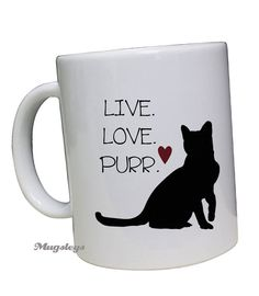 Cat Mug coffee cup, Live Love Purr Cat gifts for pet owners, Black Kitty Cat with red Heart, my person