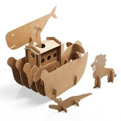 Arca di Noe' for modern kids Cardboard Cartons, Cardboard Paper, Cardboard Crafts, Paper Crafts, 3d Paper, Diy For Kids, Crafts For Kids, Cardboard Design, Modern Kids