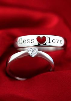 Engagement Ring and Wedding Band Set, Matching Couple Promise Rings, Beautiful Heart Shaped Cubic Zirconia Stone Ring for Girl+ Open Heart & Black Endless Love Engraved Band for Boy, Cheap His and Hers Jewelry in Sterling Silver