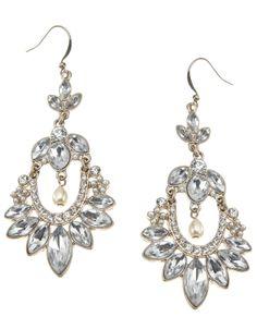 Marion Crystal Chandelier Earrings   Clear   Accessorize