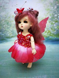 Red fairy dress for Lati yellow Puki Fee and by AngelDollFashions Cute Baby Girl Pictures, Girly Pictures, Beautiful Barbie Dolls, Pretty Dolls, Barbie Images, Cute Baby Dolls, Cute Girl Wallpaper, Anime Dolls, Little Doll