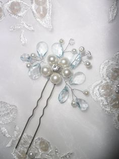 NEW ITEM-Something Blue Hair Pin, Bridal Hair Pin, Wedding Hair Pin, Bridal Hairpiece, Wedding Hair Accessory, Crystal Hairpiece on Etsy, $28.00