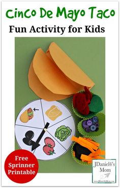 Cinco De Mayo Taco- Fun Activity for Kids- Children will spin to add ingredients to their mail envelope taco shells. This is a great fine motor activity.