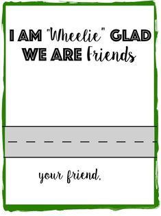 "Race Car Valentine Printable: I am ""Wheelie"" Glad We Are Friends! Print this non. Race Car Valentine Printable: I am ""Wheelie"" Glad We Are Friends! Print this non-candy valentin Mens Valentines Gifts, Valentines Day Party, Valentines For Kids, Valentine Day Cards, Valentine Photos, Valentine Stuff, Valentines Sweets, Printable Valentine, Valentine Ideas"