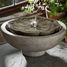 Campania Cast Stone Flores Garden Terrace Fountain