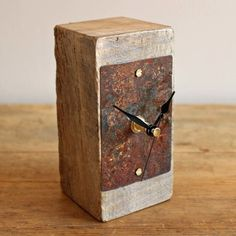 Small Mantel Clock Salvaged Oak and Beach Metal by Reclaimed Time £34.99