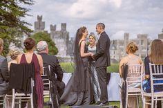 The bride wore a black wedding dress at Ashford Castle lawn ceremony Irish Wedding, Wedding Story, Black Wedding Gowns, Ashford Castle, Wearing Black, Real Weddings, Wedding Ceremony, Bride, Celebrities