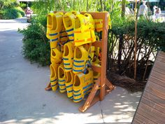 Life jacket rack....available to hold 12, 24 or 48 jackets. This rack holds 24 jackets and is constructed of synthetic wood. #resort #hospitality #madeinusa #syntheticwood #outdoorfurniture Furniture Making, Wood Furniture, Outdoor Furniture, Recycled Plastic Furniture, Plastic Material, Hospitality, Recycling, Jackets, Life