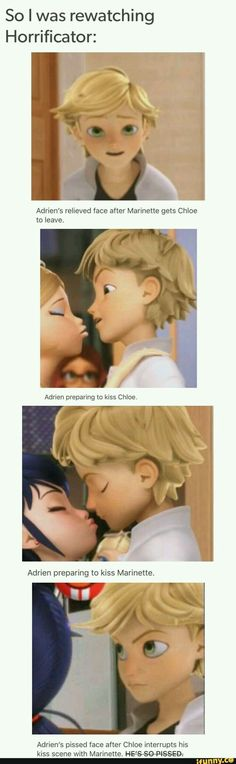 Is it me or is he kinda smiling before kissing Marinette?