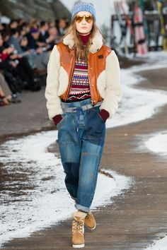 Tommy Hilfiger Fall 2014 RTW. #TommyHilfiger #Fall2014 #NYFW jeans. outdoor. shearling bomber jacket. peg leg light wash jeans. alpine print sweater. oxblood.
