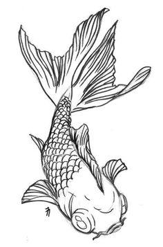 Dessin carpe japonaise pour tatouage