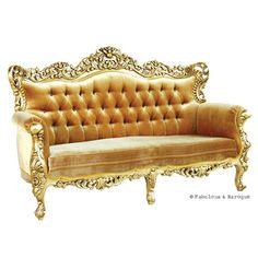 Belle de Fleur French Love Seat - Gold  #French Ornate Modern Baroque & Rococo Furniture www.fabulousandbaroque.com