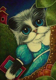 """Tuxedo Girly Kitten Cat with New Dress Back to School"" par Cyra R. Cancel"