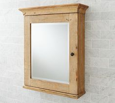 Nice mirrored bathroom cabinet.    Mason Reclaimed Wood Wall-Mounted Medicine Cabinet #potterybarn