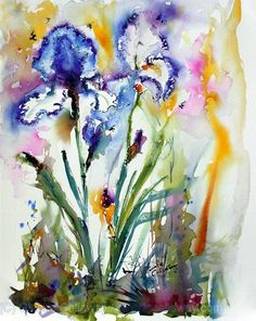 Blue and White Bearded Iris Flowers - Original Watercolor and Ink by G   Impressionist Paintings Oil and Watercolors by Ginette Callaway