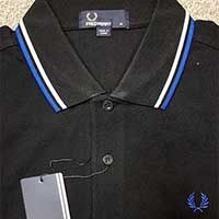 Fred Perry Classic Fit Twin Tipped Polo Shirt- BLACK / WHITE / REGAL