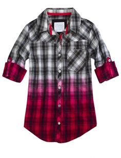 Dip Dye Plaid Shirt | Girls Tops Tees Clothes | Shop Justice