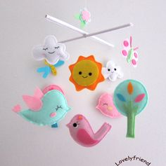 "Baby Crib Mobile - Baby Mobile - Felt Mobile - Nursery mobile - "" bird, sun, tree,, butterfly, Dragonfly"" design (Custom Color Available)"