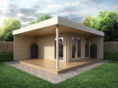 Modernes Gartenhaus mit Terrasse Hansa Lounge 12m² / 44mm / 5x5