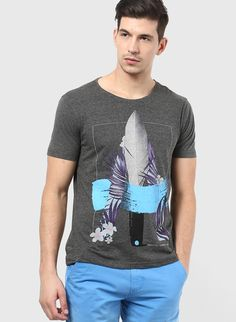 Buy Forca By Lifestyle Grey Round Neck T-Shirt for Men Online India, Best Prices, Reviews | FO787MA55FCIINDFAS