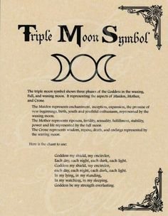 Book of Shadows page - Triple Moon Symbol & Goddess Chant Graphic voice for moon symbols Moon Symbols, Pagan Symbols, Moon Symbol Meaning, Moon Glyphs, Goddess Meaning, Death Symbols, Goddess Symbols, Goddess Tattoo, Wicca Witchcraft