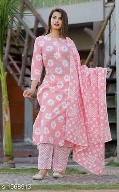 Pastel Pink Cotton Straight Printed Kurta Palazzo And Dupatta With Pom Pom Lace by Vidza - Online shopping for Kurtas on MyShopPrime - Kurti Neck Designs, Kurta Designs Women, Kurti Designs Party Wear, Blouse Designs, Dress Designs, Casual Indian Fashion, Indian Fashion Dresses, Pakistani Dresses, Indian Gowns