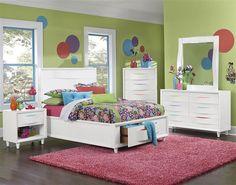 Crayola Colors Modern Snow White Wood Kids Bedroom Set