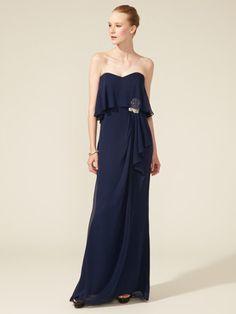 Badgley Mischka Collection Silk Tiered Strapless Gown