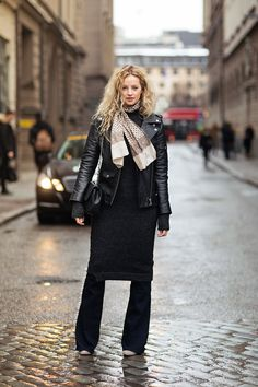 """""""I'm wearing jeans from Victoria Beckham, boots from Steward Weizman, kitted dress from Zara, jacket from Hide, vintage scarf and a bag from Chanel."""""""