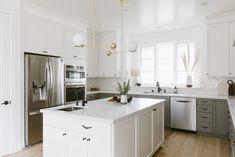 White Herringbone Tiles Kitchen | Fireclay Tile | Fireclay Tile Luxury Kitchens, Cool Kitchens, White Kitchens, Herringbone Tile Pattern, Latest Kitchen Designs, Fireclay Tile, All White Kitchen, Style Tile, Kitchen Trends