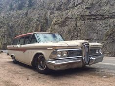 """'59 Edsel Villager ... mild custom t lowered ride height and aftermarket wheels. Like the minimal """"rat"""" patina. Still carries original 361 FE and Ford-O-Matic transmission."""
