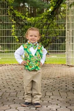 Teenage Mutant Ninja Turtles Clothing - Toddler Boys Vest and Bow Tie Set - Boys Birthday Outfit - Boys Clothing - TMNT - Cake Smash