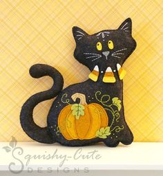 Stuffed Animal Pattern - Felt Plushie Sewing Pattern & Tutorial - Midnight the Halloween Cat - Halloween Embroidery Pattern PDF. $5.00, via Etsy.