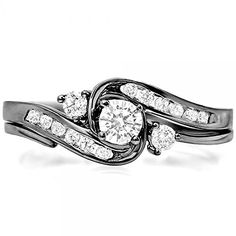 @blackdiamondgem 0.50 Carat (ctw) Black Rhodium Plated 10k White Gold Diamond Swirl Bridal Ring Set 1/2 CT (Size 7) by DazzlingRock Collection http://blackdiamondgemstone.com/jewelry/wedding-anniversary/bridal-sets/050-carat-ctw-black-rhodium-plated-10k-white-gold-diamond-swirl-bridal-ring-set-12-ct-size-7-com/