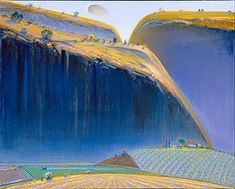Wayne Thiebaud -- landscape (need to find exact title). You'll find rich color & intriguing patterns in his work. Landscape Art, Landscape Paintings, Wayne Thiebaud Paintings, Pop Art Movement, Guache, Paintings I Love, American Artists, Art History, Monet
