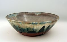 Stoneware Bowls | This wheel thrown stoneware pottery shallow bowl is ten inches in ...