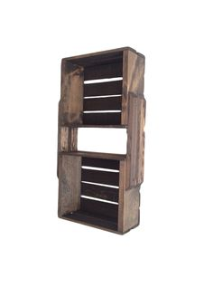 The medium size rustic wooden crate shelving unit features two attached crates with an espresso brown finish, and 3 shelves. Wall mounted shelf for home storage Wooden Crates Rustic, Wooden Crate Shelves, Rustic Wall Shelves, Wall Hanging Shelves, Crate Shelving, Diy Wood Projects, Medium, Daycare Ideas