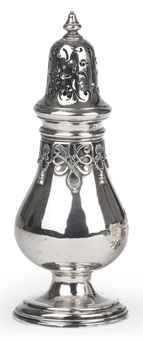 A Dutch silver sugar-caster  Mark of Lucas Claterbos, Amsterdam, 1754, also struck with later Dutch duty mark  Pear-shaped, on reeded circular foot, the neck applied with symmetrical scroll-work, shell motifs and tassels, the pierced high domed cover with knop finial, marked on base and on the upper body rim  16.7 cm. high  162 gr.