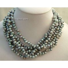"6 Strands 17"" black pearl necklace"
