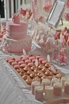 Pretty, pink, princess themed first birthday dessert table styling by www.prettylittlevintage.com.au