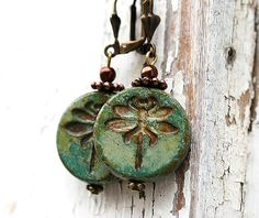 These would be a great gift for my mom! Dragonfly earrings Turquoise green glass by MayaHoneyJewelry, $16.00