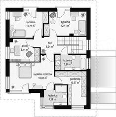 Rzut piętra projektu Tytan 4 House Map, Architect House, Facade, House Plans, Sweet Home, Floor Plans, House Design, How To Plan, Building