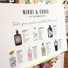 Gin Table Plan with hand-painted bottles. Created by Artist Sinead O'Toole. Cute Wedding Ideas, Wedding Themes, Wedding Decorations, Wedding Inspiration, Table Decorations, Wedding Dresses, Wedding Table Centres, Seating Plan Wedding, Online Stationery Store