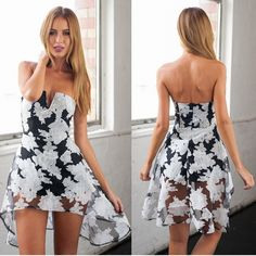 Sexy Strapless Asymmetric Floral Print Romper / Playsuit