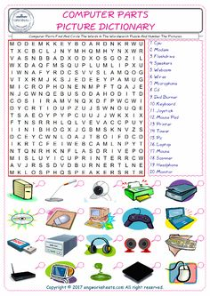 Computer Parts Find And Circle The Words In The Wordsearch Puzzle And Number The Pictures Computer Lab Lessons, Computer Literacy, Kids Computer, Computer Teacher, Teaching Computers, Computer Basics, Technology Lessons, Computer Science, Vocabulary Worksheets