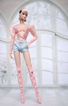 """Pink Shoes for 12/"""" Fashion Royalty Agnes  Poppy Parker DG Momoko doll dania"""