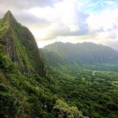Nu'uanu Pali Lookout in Kaneohe, Hawaii >>> How awesome would it be to hike here?? Wow.