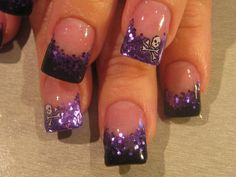 French tips with glitter...leave off the skull & they would be super cute!