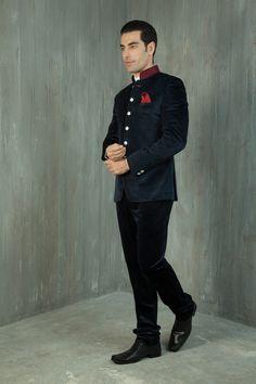 Blue suede jodhpuri with dori work on collar with chinese collar shirt. Item number M15-28