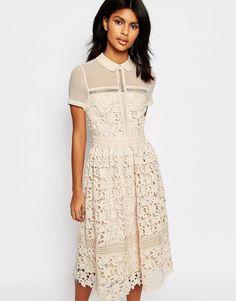 Warehouse+Lace+Collar+Dress